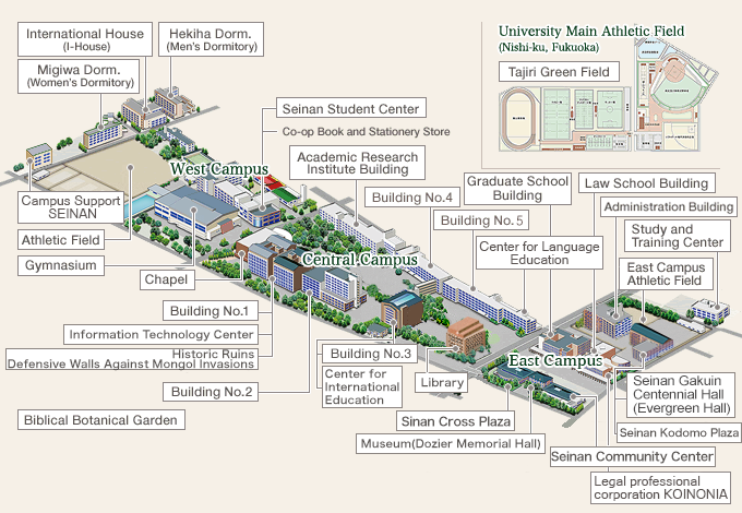 Access and Campus Map | Access and Campus Map | Seinan Gakuin University